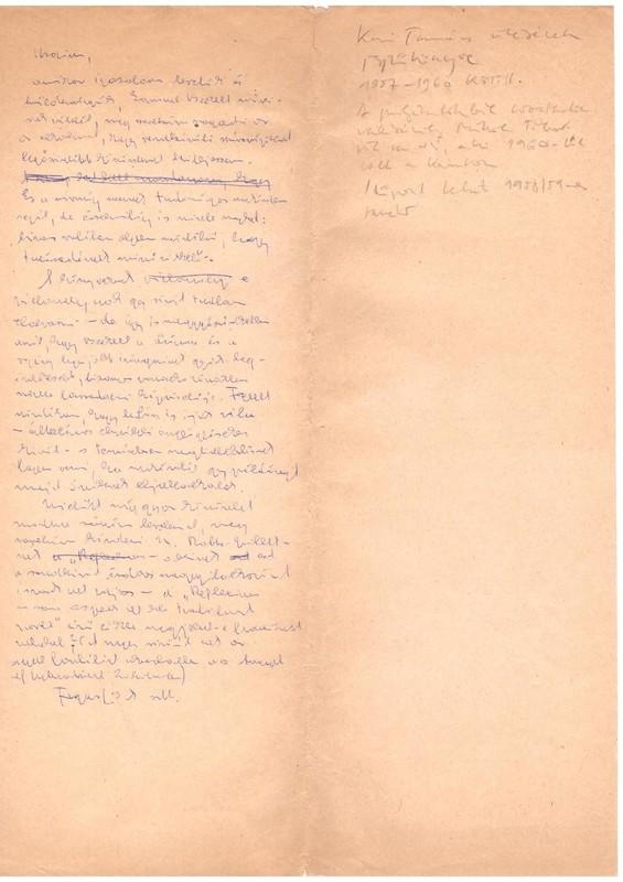 Halász Előd kézírása az 1957/58-as kari tanácsülés egyik jegyzőkönyvének versóján